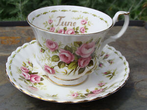 June ROYAL ALBERT Flower of the Month Cup and Saucer EC
