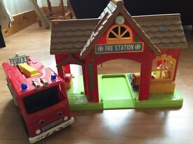 Fire station and push along fire engine