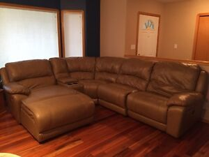 5 piece leather power reclining sectional