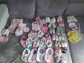Baby girl shoes and bibs bundle