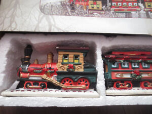 Deluxe hand painted porcelain Christmas train decoration