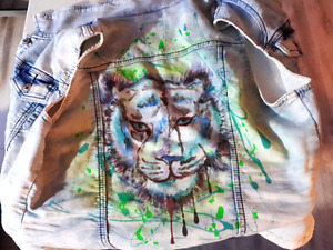 Tiger hand painted jacket
