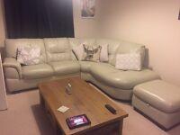 Leather corner sofa with storage footstool