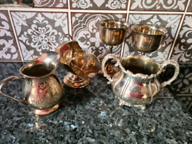 Beautiful Silver Set for Sale, Goblets, Jugs, Small Tureen etc
