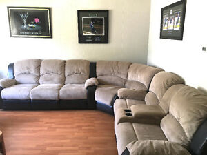Micro Suede sectional with 4 Recliners