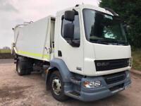 2010 10 DAF LF 55.220 euro 5 15T muni serv compactor twin bin lift refuse truck