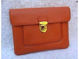 Genuine Prada Orange Saffiano Leather Clutch Bag with Dustbag-Pristine