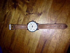 Fossil Watch - Tan Leather Strap, Cronograph, Gently Used