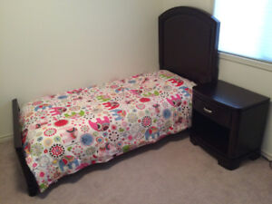 Twin Bed Frame and Mattress, Dresser and Night Table