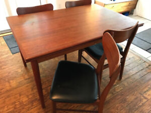 SOLD- Mid-century modern dining table (extendable) with chairs