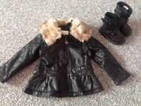 """Girls """"leather"""" jacket size 1,5-2 yrs"""