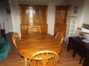 WE HAVE A DINING ROOM SET TABLE & CHAIRS , 2 CHINA CABINETS ALL