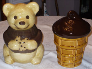 2 Cookie Jars (Teddy Bear & Ice Cream Cone) $25 for both