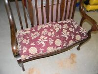 ANTIQUE  SOLD  WOOD  HALL  BENCH