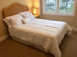 Wicker Bed with side table and lamp