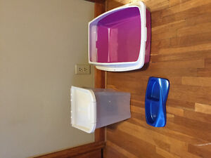 Litter box, food container, food and water dish