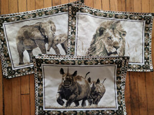 Brand New Set of Cloth Place Mats: African Animals