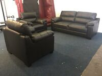 Black leather three piece suite 3 seater sofa and 2 x armchairs bargain