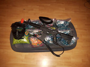 Paintball gun, Mask, Remote Coil, Mask, And few thousand paint