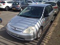 2001 Honda Civic MOT YEAR. TAX PERFECT DRIVE WARRANTY GUARANTEED NEW SHAPE