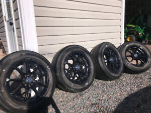 """15"""" Universal Black Rims with tires"""
