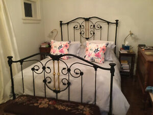 Queen Bed Frame, Antique Head and Foot Board