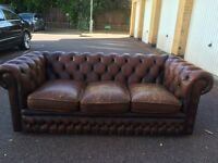 Brown Chesterfield three seater free London delivery