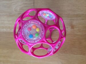 4 inch pink Oball with rattle