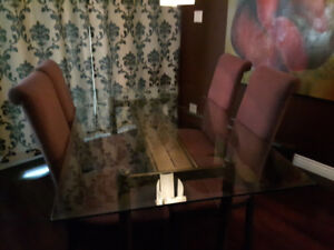Glass Table  Dining Room Set
