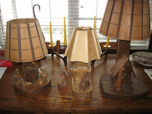 COLLECTION OF 3 HANDCARVED AND SIGNED 1960'S FOLKART TABLE LAMPS