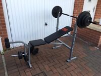 Pro power weight bench with weights and leg curl attatchment