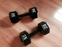 Pair 35 lb hex dumbbells