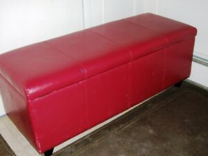 LEATHER COVERED OTTOMAN - Like New. $40.