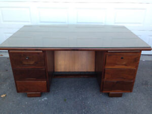 ~ One of a Kind Vintage: Solid Imbuia Executive Office Desk ~