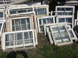 old wooden windows from the farm