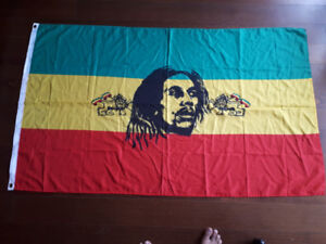 Rasta Red Gold and Green Wall Flag