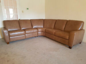 "Almost New Natuzzi ""Buffalo"" Leather Reclining Sectional Couch"