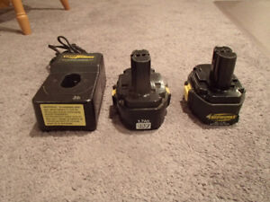 2 YARD WORKS 18V BATTERIES AND BATTERY CHARGER - USED BUT WORK