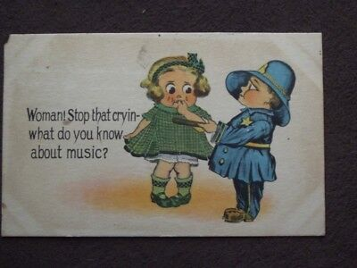 WOMAN SOP THAT CRYIN - WHAT DO YOU KNOW ABOUT MUSIC, CHILD POLICE 1913 - Comics About Kids