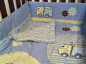 Blue truck crib set