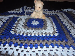 Handmade crochet baby/Toddler blue blanket with matching hat