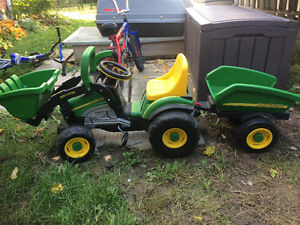 John Deere chain driven tractor and trailer