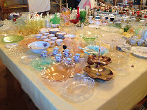 Antique Glassware, Cups & Saucers, Depression Glass