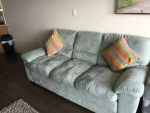 Mint blue three seater Microsuede  sofa for sale.