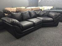 Black leather corner sofa curve small