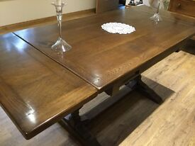 Sturdy (extending) wooden dining table, sits 6 comfortably, sadly surplus to requirement