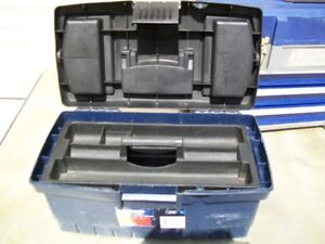 Handy man tool box with contents.