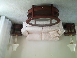 Sofa/couch, 2 lamps, 1 coffee table, 2 end/side tables
