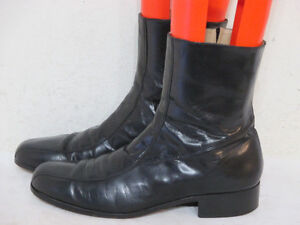 """BEATLE BOOTS"" NUNN BUSH Mens Black Leather Side Zippered"