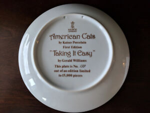 Kaiser Porcelain plate 1st Ed. - American Cats: Taking Easy;